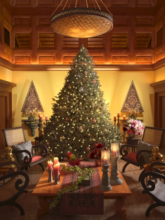 Christmas scene with elegant interior   3d model scene photo