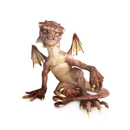 dragones: Drag�n del beb� sentado en un fondo blanco, parte de una serie del drag�n del beb� Foto de archivo