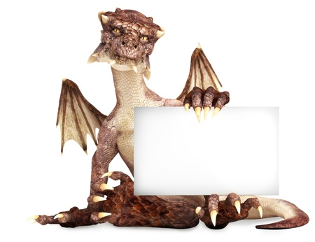 Fantasy dragon holding advertisement blank card, room for text or copy space photo