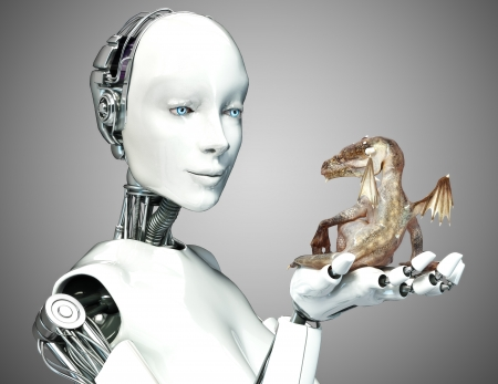 artificial wing: Science Fiction meets Fantasy. Female android robot holding a baby dragon with a gradient background.