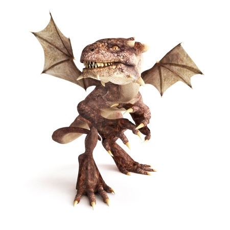 creatures: Dragon posing in a fierce position on a white background. Part of a dragon series