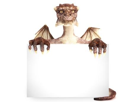 dragones: Fantasy dragon holding advertisement gran tarjeta en blanco, espacio para texto o espacio de la copia