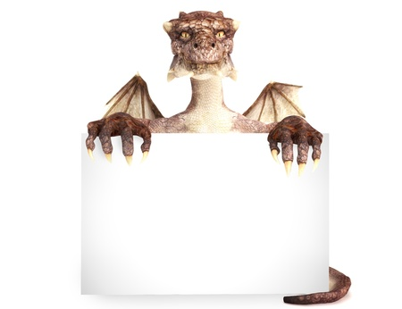 mythological character: Fantasy dragon holding advertisement large blank card, room for text or copy space