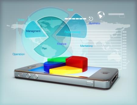 mediaan: Zaken op een smartphone, grafiek bedrijfsgroei en finance concept
