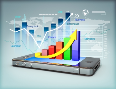 information median: Business on a smartphone, line graph business growth and finance concept
