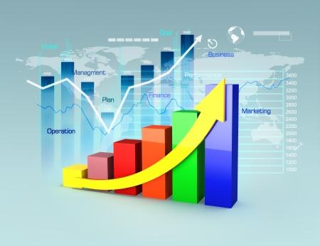 Le plan d'affaires avec des graphiques et des tableaux, la croissance de l'entreprise et le concept de finance