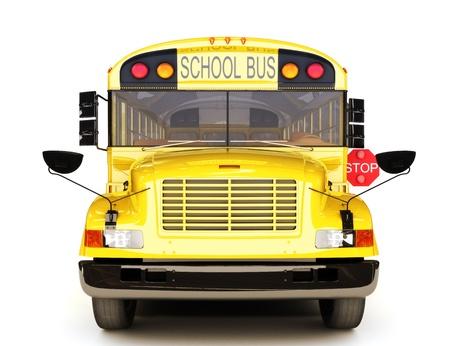 transport scolaire: �cole vue de face de bus Banque d'images
