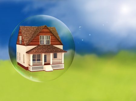 foreclose: House in a bubble, room for text or copy space