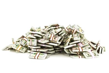 白い背景の上の 50、20、10 のドル札のお金のスタックの山