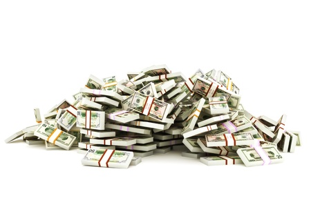 stacks of money: Pile of money stacks of 50 , 20 and 10 dollar bills on a white background