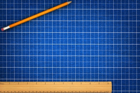 grid paper: Blueprint background with pencil and ruler, room for text and copy space  Stock Photo