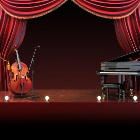 テキストまたはコピー スペース広告のための部屋を持つオーケストラ交響楽団テーマ ステージ