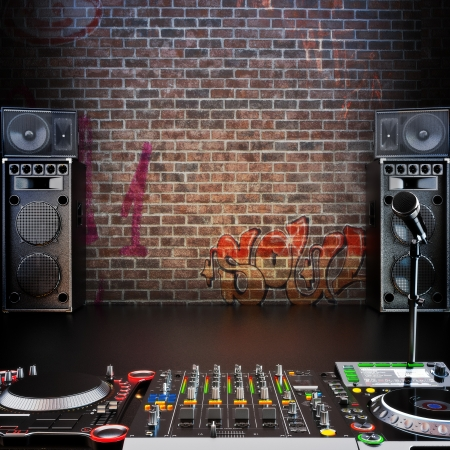 dj: Dj R B, Rap,Pop music background with Microphone, speakers and Dj equipment Stock Photo