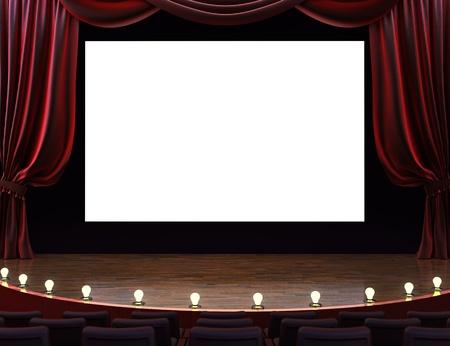 teatro: Cine teatro de la pel�cula con las cortinas, pantalla, asientos y escenario iluminado. Espacio para texto o copia de espacio publicitario. Foto de archivo