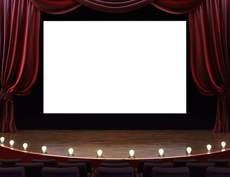 Cinema movie theater with curtains, screen, seats and lighted stage. Room for text or copy space advertisment.