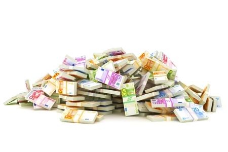 money euro: European pile of money, stacks of 10 s, 20 s, 50 s, 100 s, 500 s in Europeans currency on a white background  Saving or dept concept