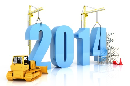 Year 2014 growth, building, improvement in business or in general concept in the year 2014, on a white background