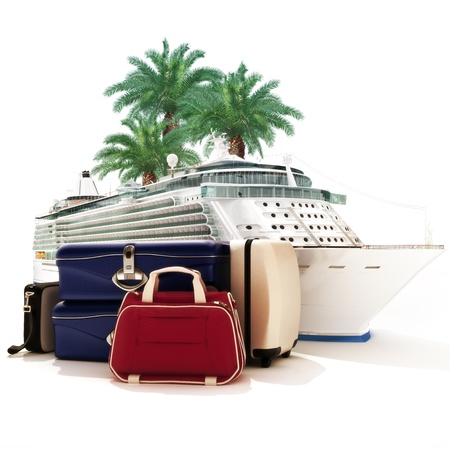 port: Cruise ship with luggage and palms in the background   Stock Photo