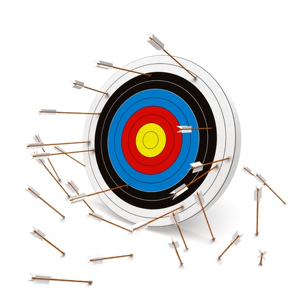 Errar el blanco, múltiples flechas que faltan el blanco Foto de archivo - 20465646