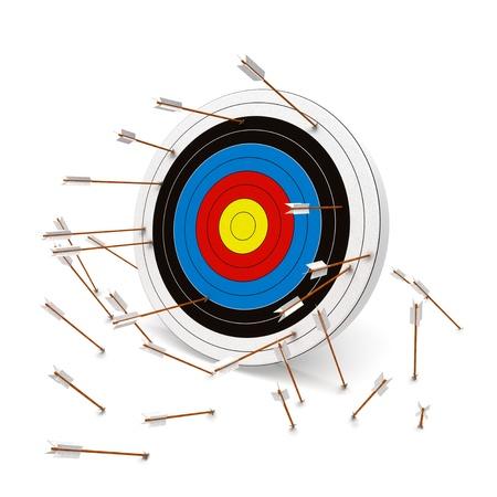 proposito: Errar el blanco, m�ltiples flechas que faltan el blanco Foto de archivo