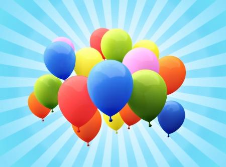 Balloon s with sunburst background
