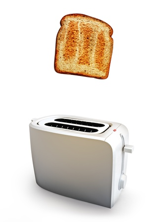 Toast popping out of a toaster, Breakfast concept on a white background