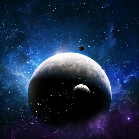 creation: Exploration , planet in deep space with two moons   Stock Photo