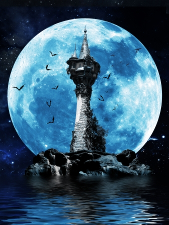 Witches tower, Halloween image of a dark mysterious tower on a rock island with bats and a moon background