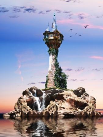 castello medievale: Wizards torre Fantasy torre seduto su una roccia dell'isola con uno sfondo tramonto