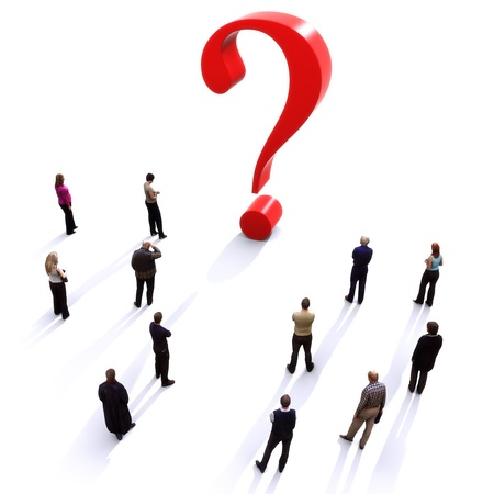 quest: Group of people with questions, thinking concept , or quest for answers on a white background  Stock Photo