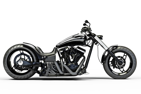 白い背景の上のカスタムの黒いオートバイ