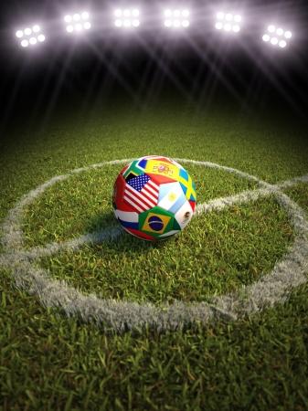 3D-rendering van een voetbal op een voetbalveld van de deelnemende landen
