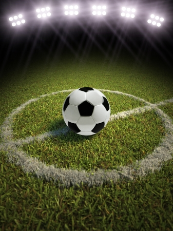 3d rendering of a soccer ball on a soccer field with lights Stock Photo - 20940800