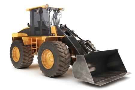 Bulldozer ladergraafwerktuig bouwmachines uitrusting geïsoleerd op wit Stockfoto