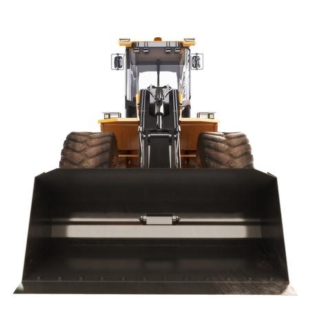 白で隔離されるブルドーザー ローダー ショベル建設機械機器のフロント ビュー