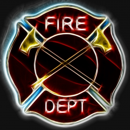 Abstract fractal Fire department Maltese cross badge or symbol with axes