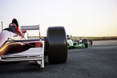 빨간 자동차 경주 모션 블러 높은 해상도로 팩을 선도하는 트랙에 전면 뷰를 닫습니다 텍스트를위한 공간을 렌더링 또는 복사 공간에 3 차원