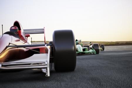 Rode raceauto close up vooraanzicht op een spoor leidt het peloton met motion blur Hoge resolutie 3d render Kamer voor tekst of kopiëren ruimte