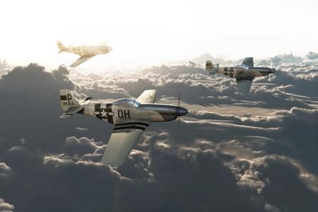 P51 ムスタング ミッションから帰国高雲高解像度の 3 d モデルのシーンの上。 写真素材