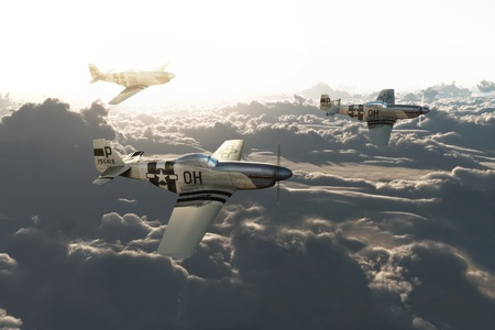 returning: P51 mustangs returning home from a mission high above the clouds High resolution 3d model scene. Stock Photo