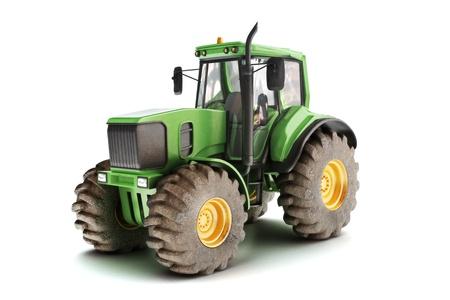 白で隔離される緑のトラクター モデルの 3d シーン 写真素材