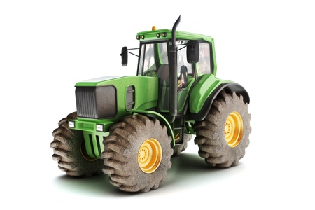 agronomic: Green tractor isolated on white  3d model scene Stock Photo