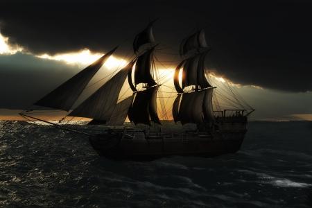 神レイ夜日没のシルエットと帆船