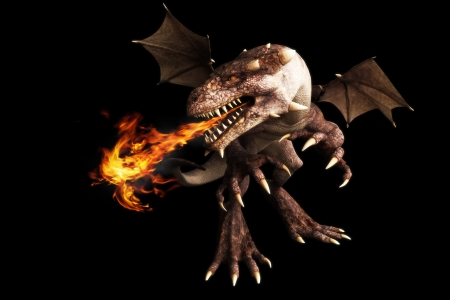 room for text: Fire breathing dragon on a black background  Room for text or copy space