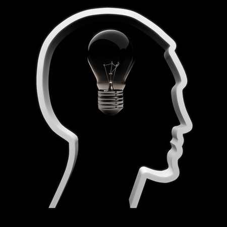 A light bulb symbolizing intellectual , innovation and inspiration is not on in a human head  Stock Photo - 21582013