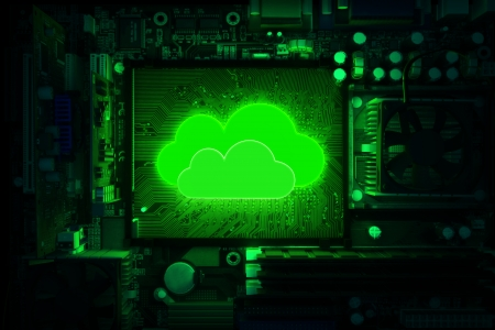 Cloud computing, Inner workings of a computer with the cloud powering it concept Stock Photo - 21582015