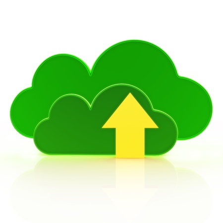 Upload to the cloud  Cloud computing concept on a white background Stock Photo - 21582016