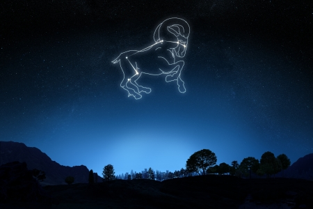 zodiac signs: Zodiac Aries with a star and symbol outline on a gradient sky background   Stock Photo