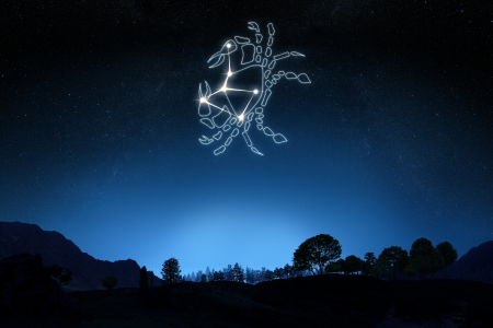 조디악은 그라데이션 하늘 배경에 스타와 기호 개요와 암 서명