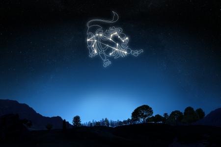 グラデーション空の背景の星とシンボル アウトライン星座記号レオ 写真素材